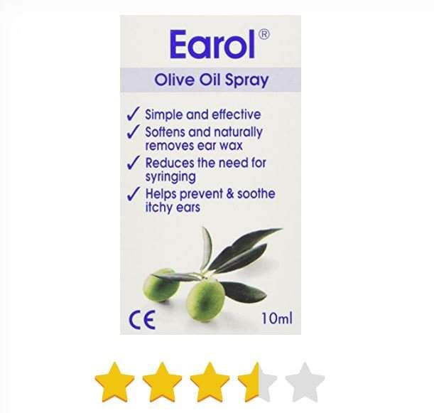 Earol Olive Oil Natural Ear Wax Softener Naturally Removing