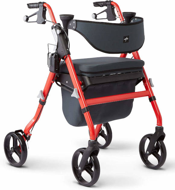Medline Premium Empower Rollator Walker with Seat, Comfort Handles and Thick Backrest