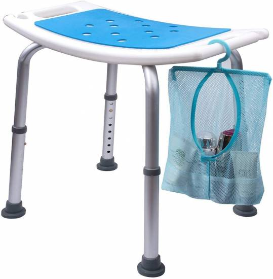 Medokare Shower Stool with Padded Seat - Shower Seat for Seniors with Tote Bag and Handles